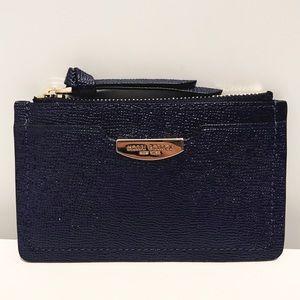 Henri Bendel Navy Blue Patent Saffiano Card Case